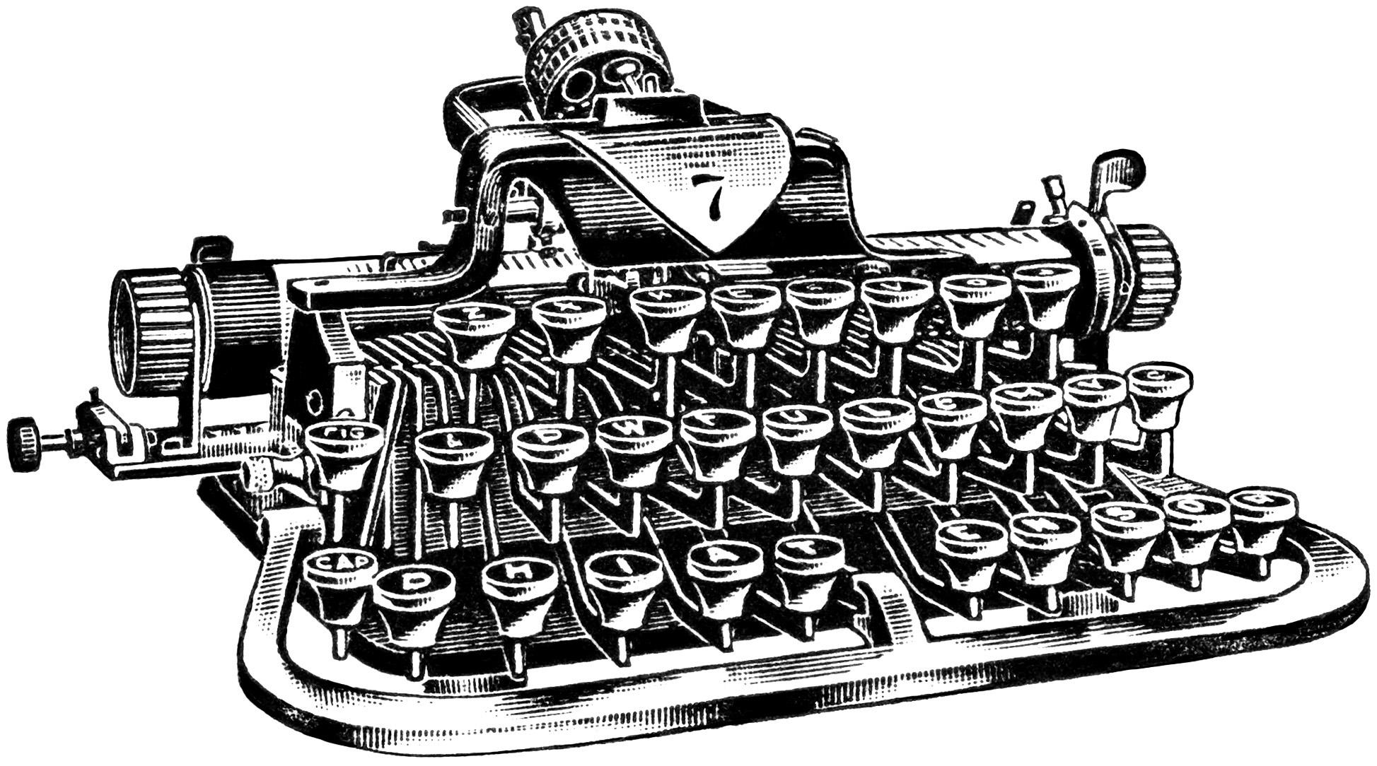 vintage typewriter clipart, antique typewriter digital graphics, old magazine advertisement, vintage office clip art, black and white typewriter image