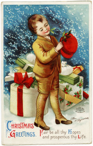 Free vintage printable Ellen Clapsaddle Christmas boy with gifts