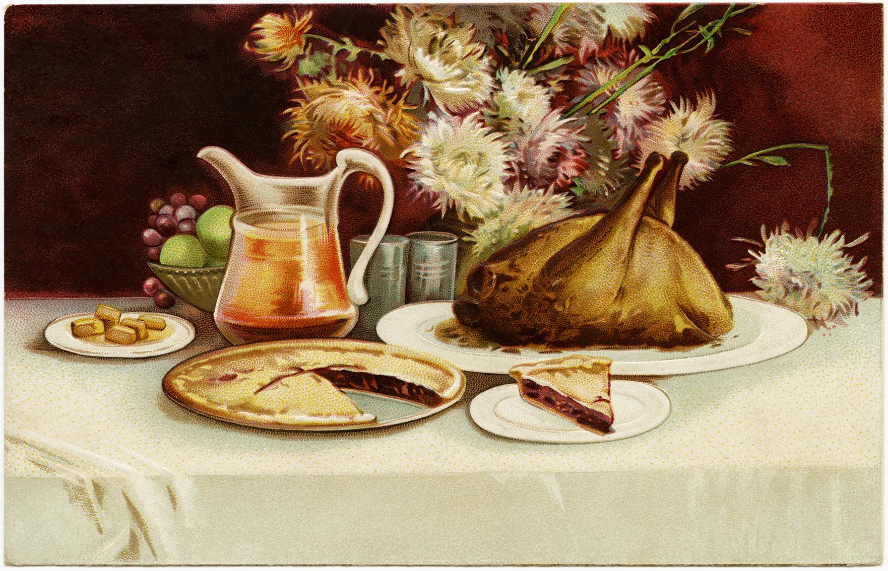 ellen clapsaddle, free vintage digital postcard, old thanksgiving image, turkey dinner illustration, old fashioned food clipart
