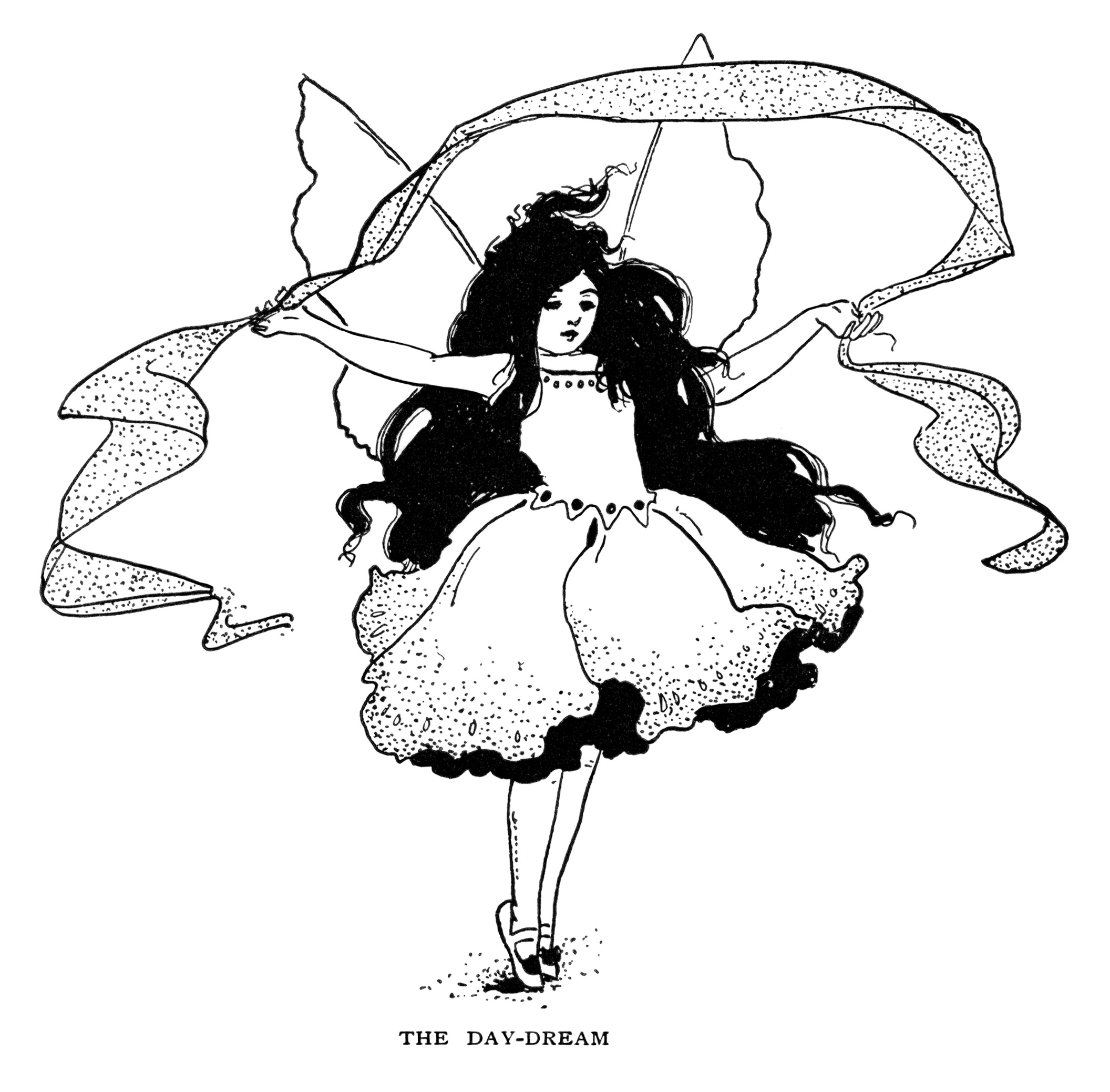 Free vintage butterfly girl day dream fairy clip art illustration