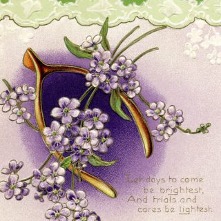 Free vintage clip art wishbone flowers green purple postcard