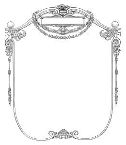 Vintage ornate frame black and white clip art illustration