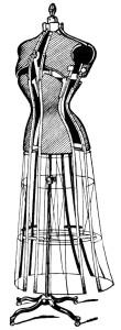 Free vintage sewing dress form clip art illustration