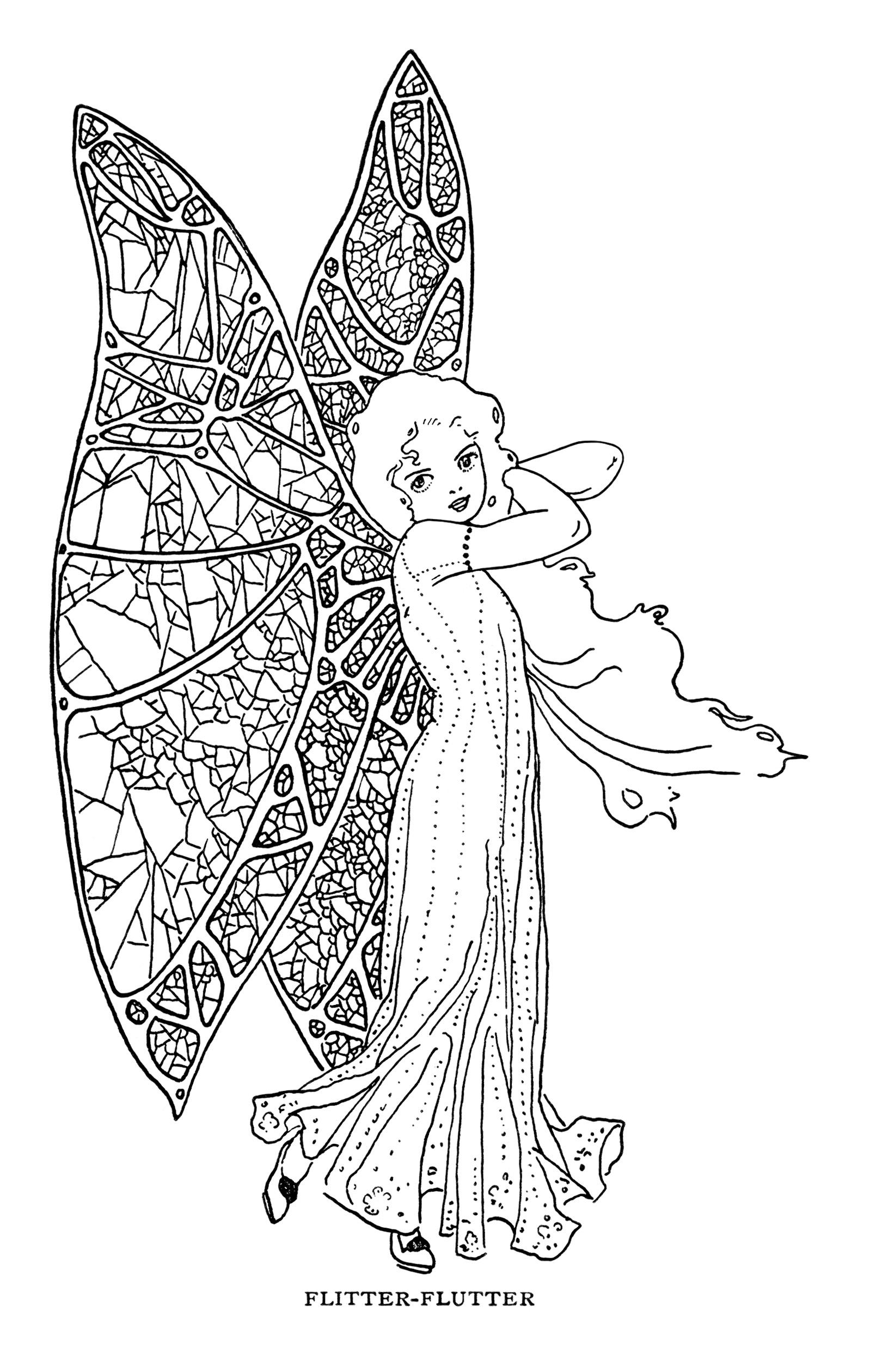 Free Vintage Fairy Butterfly Girl Clip Art Illustration