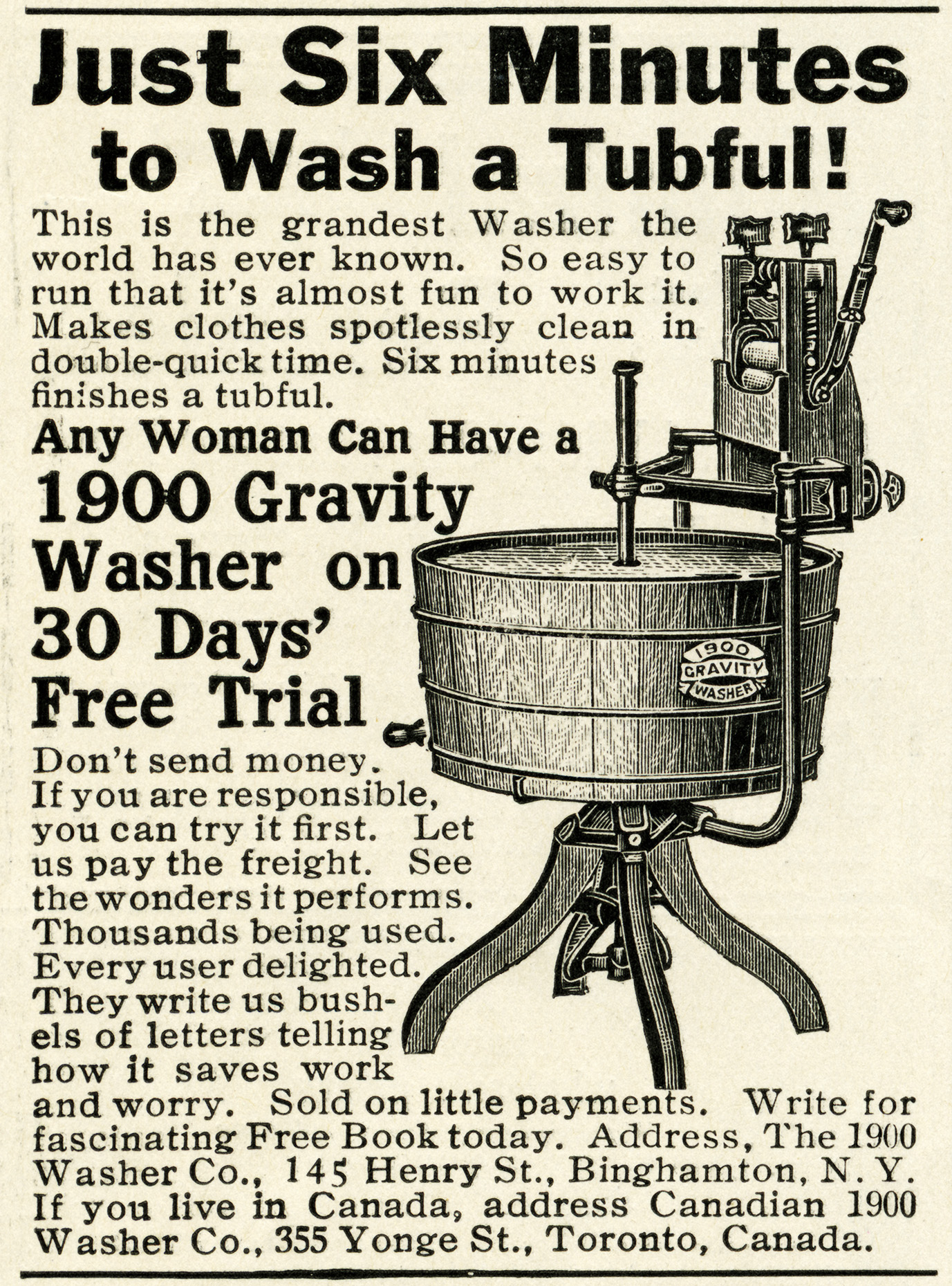 Free Vintage Washing Machine Magazine Advertisement Digital Image