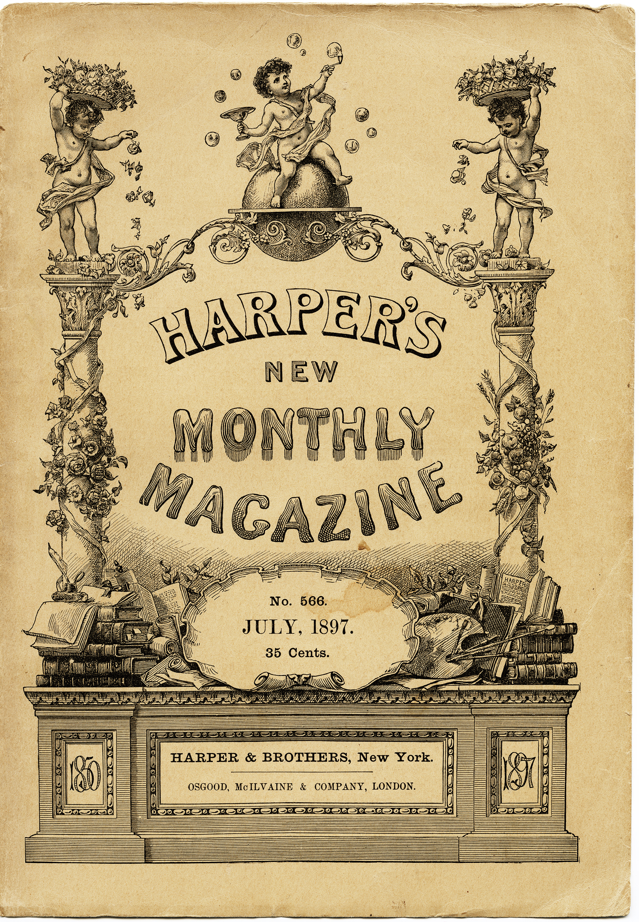 harpers new monthly magazine, aged book cover, shabby digital page, old paper image, antique yellowed vintage ephemera