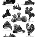 victorian fashion 1895, vintage hat clip art, ladies antique bonnet, black and white clipart hat, elegant fancy vintage hat image