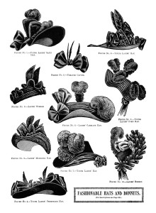 Free printable Victorian ladies hats clip art illustration