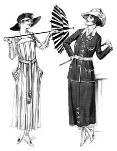 Free vintage lady clip art 1917 war time fashion