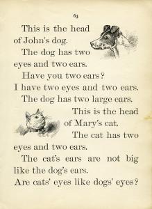 Free vintage printable book page dog cat school reader