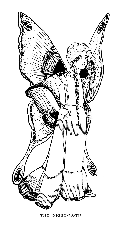 Free vintage butterfly girl night moth fairy clip art illustration