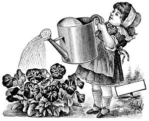 Free vintage clip art girl watering flowers