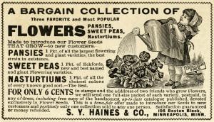 Free vintage clip art magazine ad girl watering flowers