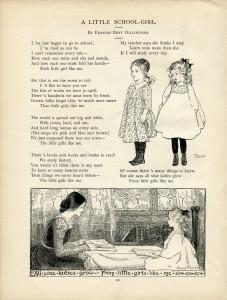 Free vintage school girl poem clip art illustration