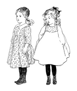 Free vintage girl clip art illustration