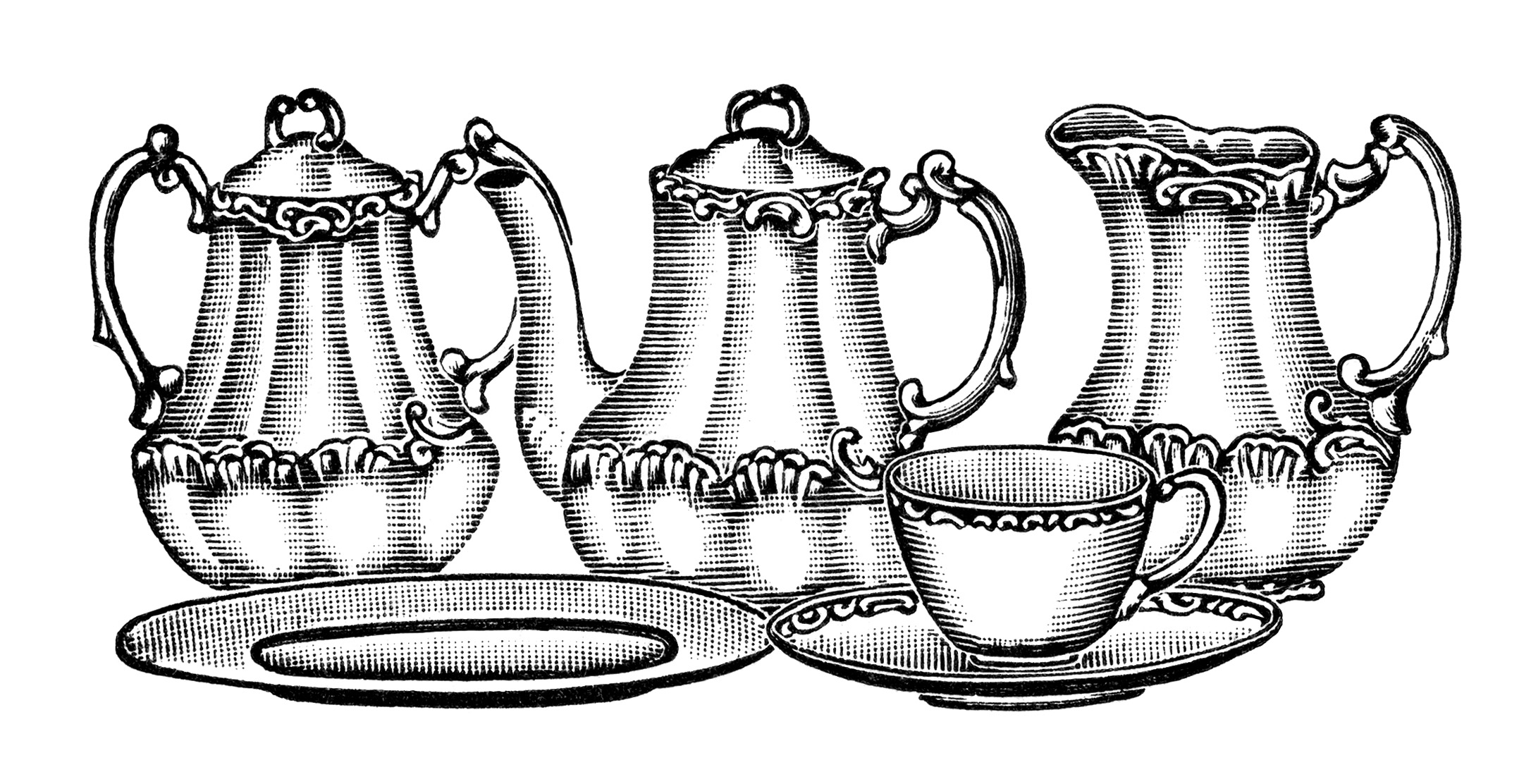 Free Vintage Tea Set Clip Art Illustration