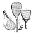 Free vintage tennis rackets clip art illustration