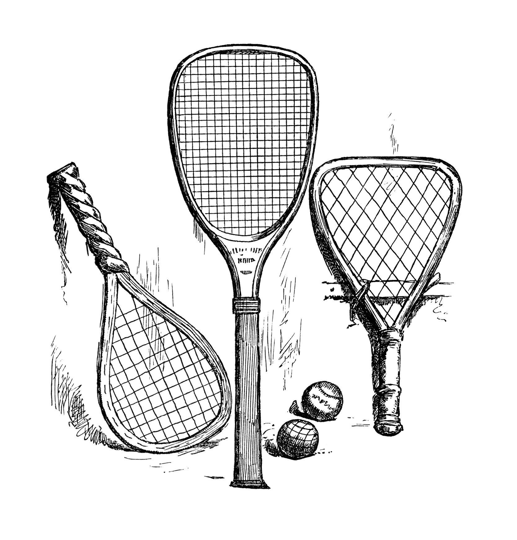 Free vintage tennis rackets clip art illustration