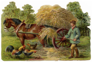 victorian clip art, vintage farm clipart, farmer stooking hay, horse and wagon image, old fashioned farm graphics