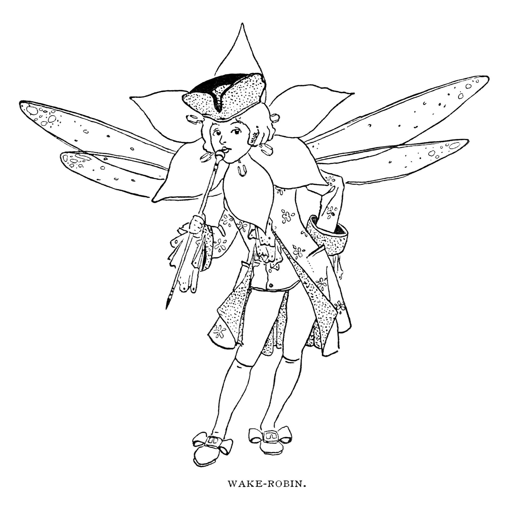 Free vintage clip art fairy illustration black and white