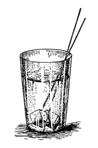 Free vintage glass of water on ice with straws clip art illustration