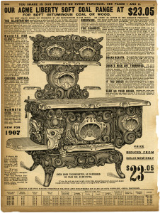 vintage stove clipart, black and white clip art, sears roebuck catalogue page, aged paper ephemera, antique kitchen image