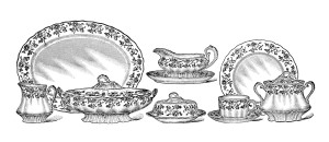 sears and roebuck catalogue 1907, vintage dinner set clip art, black and white kitchen clipart, antique dishes printable, old china dish illustration
