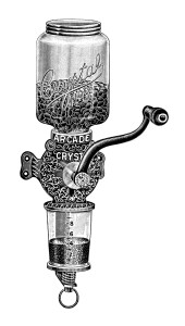 arcade crystal coffee mill, vintage coffee grinder image, black and white coffee clip art, antique magazine advertisement, old fashioned coffee graphics