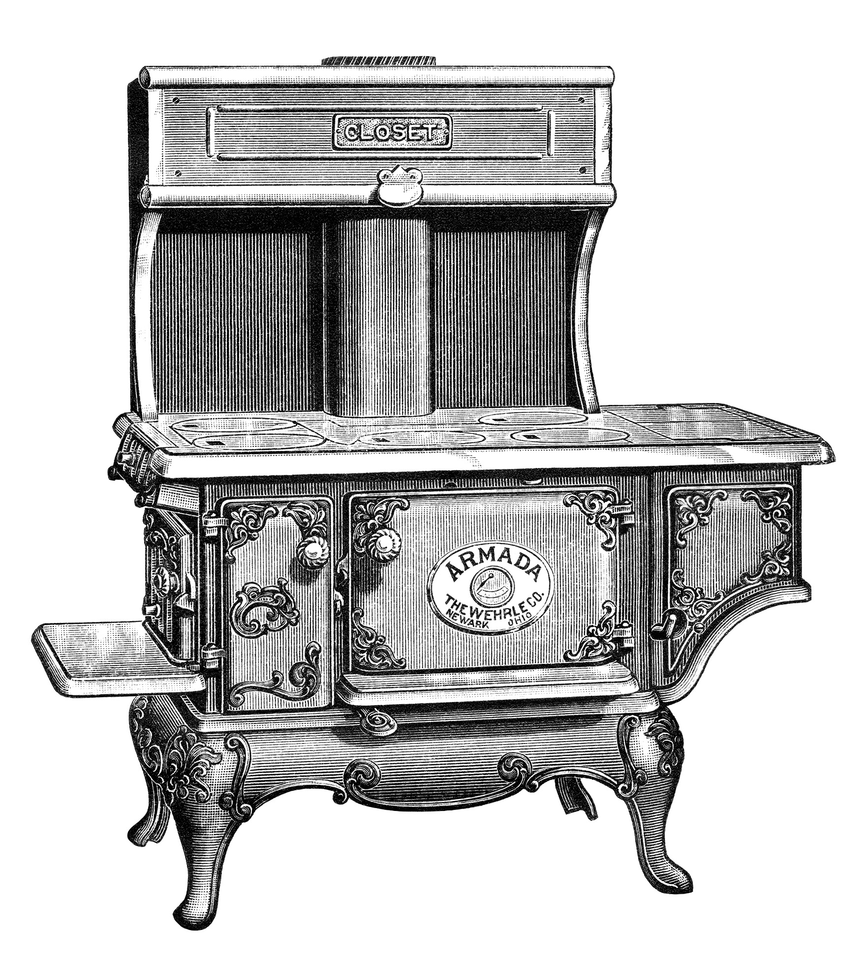 antique stove clip art, black and white clipart, vintage kitchen graphic, old fashioned cooking illustration, armada stove picture