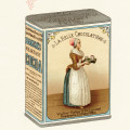 la belle chocolatiere, vintage breakfast cocoa tin, walter baker advertising, chocolate clipart, old book page