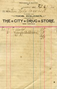 Free vintage clip art ledger account page invoice City Drug Store