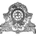 vintage clock clip art, black and white clipart, porcelain clock image, antique mantle clock, old fashioned clock illustration