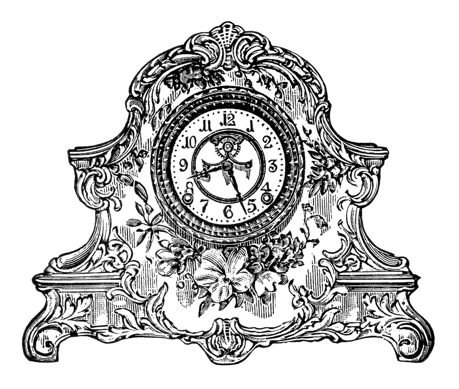 vintage clock clip art, black and white clipart, porcelain clock image, antique mantle clock, old fashioned clock illustration