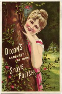 Victorian trading card, Dixon's stove polish ad, free vintage ephemera digital, old fashioned advertising card, Victorian lady image