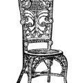 vintage chair clipart, old fashioned parlor chair, antique chair image, black and white clip art, printable furniture graphics