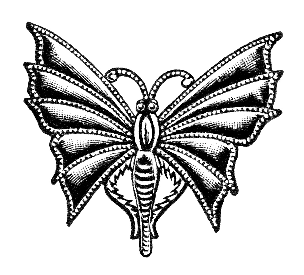 vintage jewelry clip art, antique brooch image, black and white clipart, butterfly pin illustration, antique chatelette