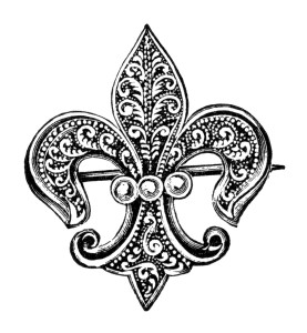 vintage brooch clipart, fleur de lis clip art, antique brooch with pearls, old fashioned jewelery image, victorian jewellery illustration