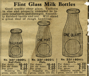 flint glass milk bottle image, vintage dairy clipart, black and white milk clip art, free vintage digital ephemera, old catalogue ad