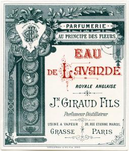 vintage French label, Jn Giraud Fils image, eau de lavande perfume label, antique beauty clipart, vintage French ephemera digital