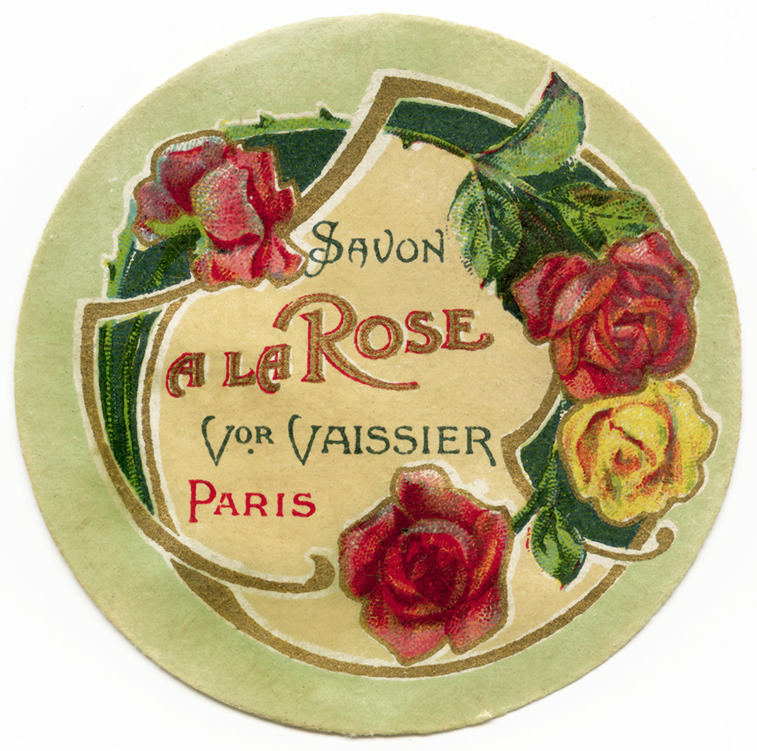 vintage French label, savon a la rose, free vintage digital ephemera, soap label with roses, old fashioned perfume sticker