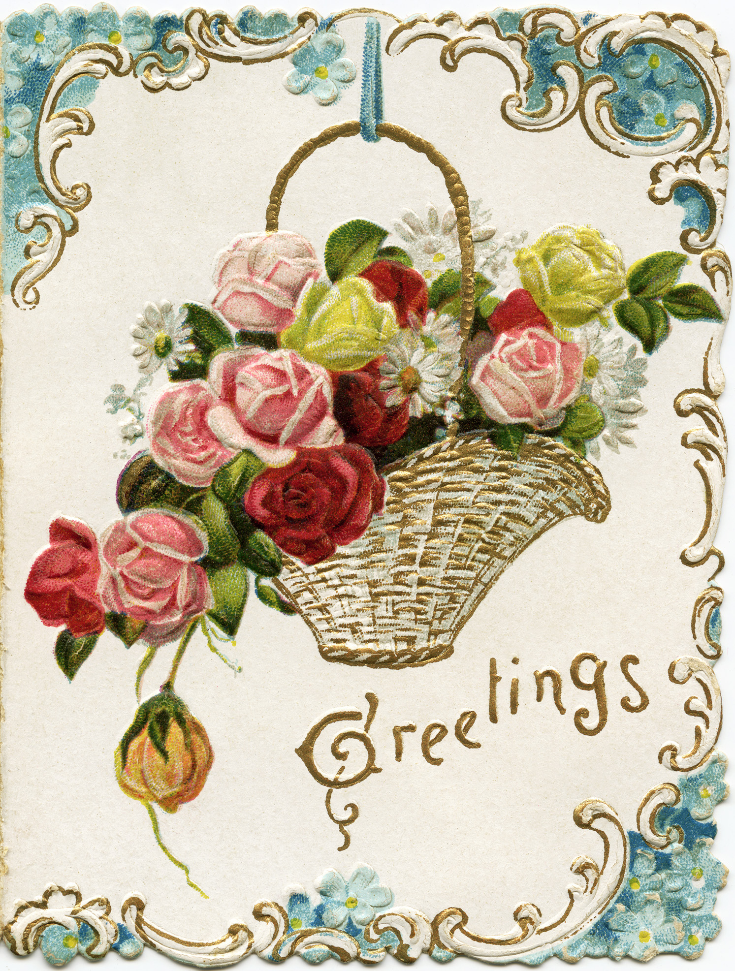 year vintage floral card old fashioned holiday card antique new years graphic basket of