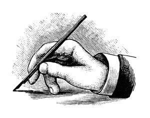 vintage hand writing with pen, black and white clipart, writing clip art, hand holding pen image, penmanship illustration