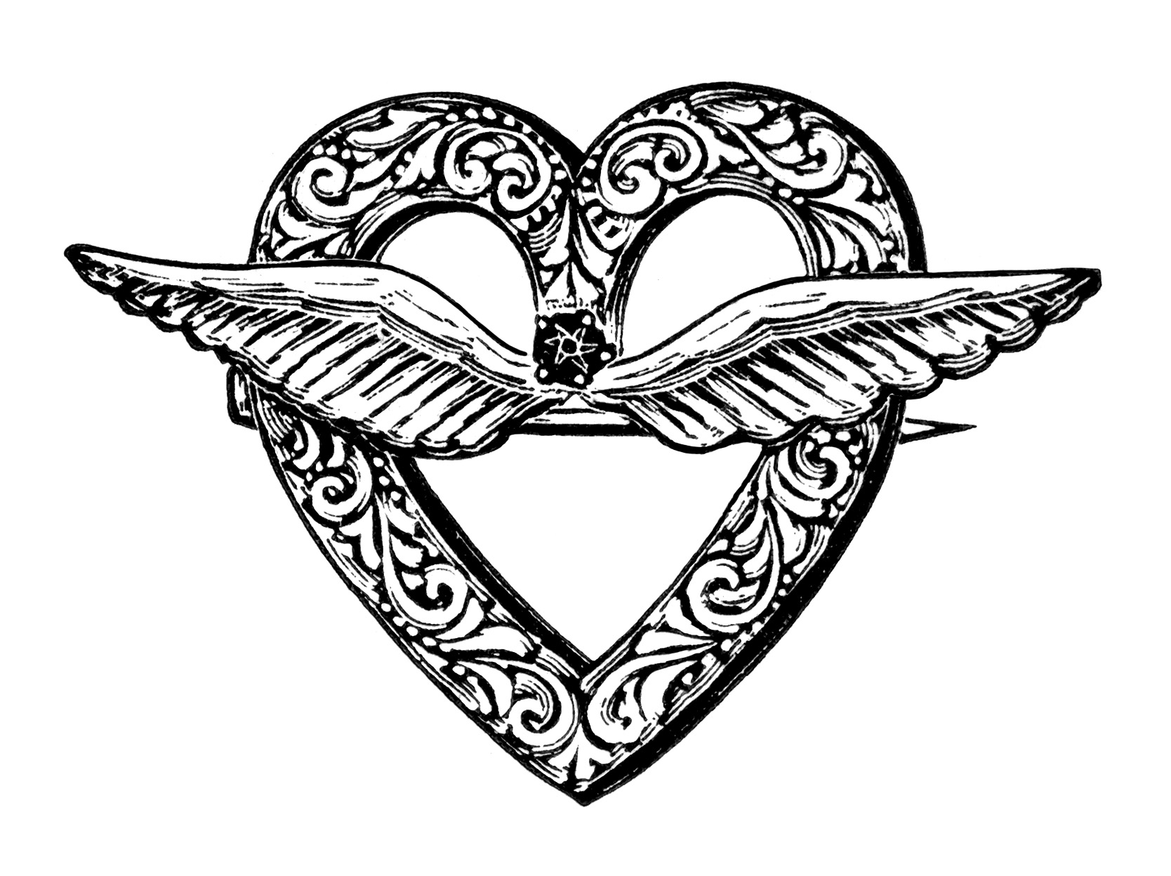 Free Vintage Image Heart Shaped Brooch With Wings