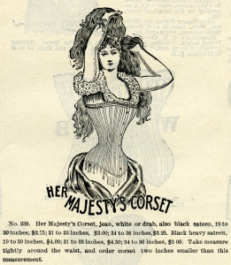 her majesty's corset, black and white clipart, vintage corset clip art, antique catalogue fashion listing, Victorian corset illustration