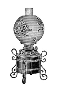 iron table lamp image, vintage lamp clipart, black and white clip art, Victorian lighting illustration, antique table lamp graphics