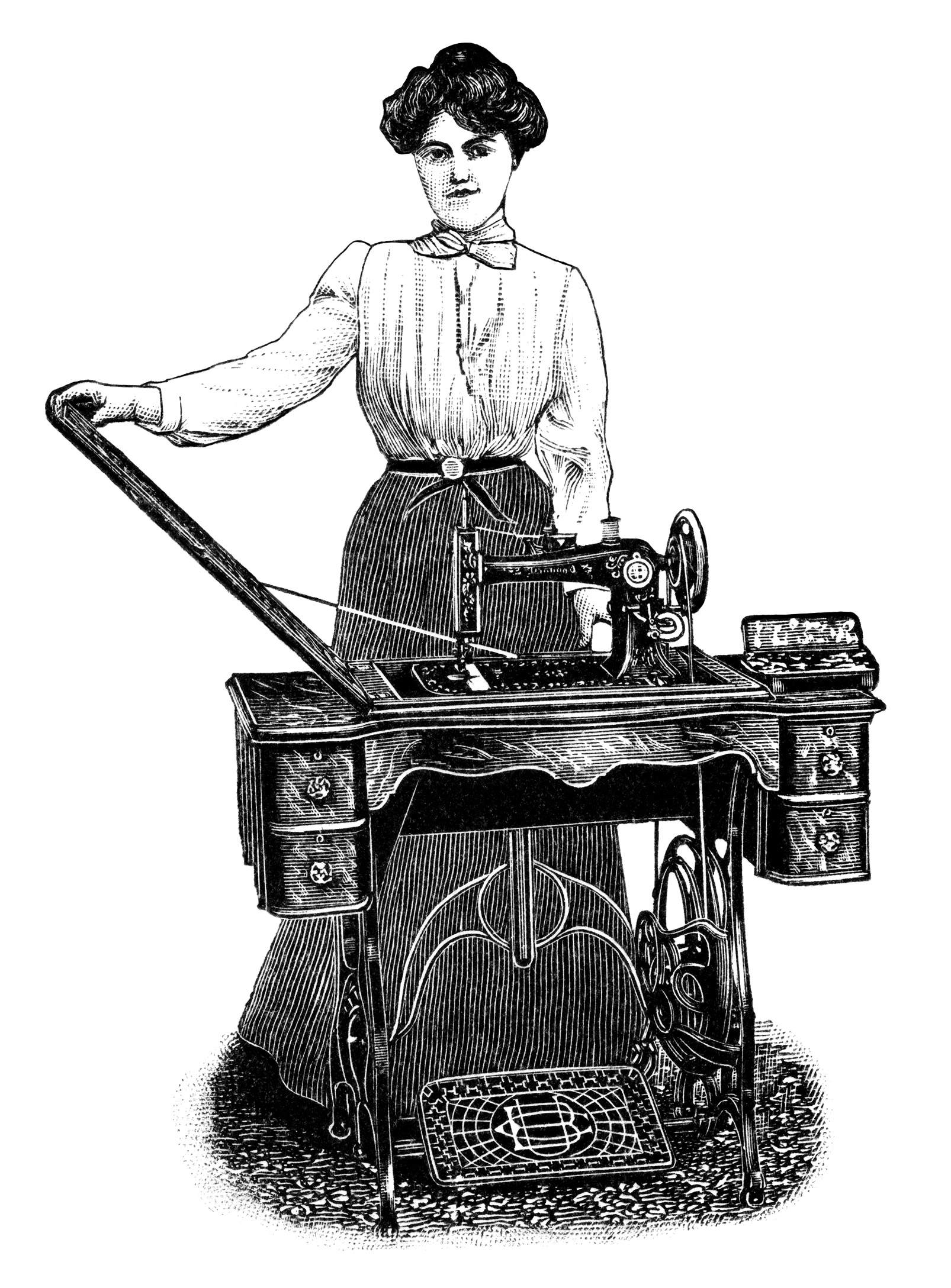 vintage sewing clipart, old sewing machine advertisement, black and white clip art, antique kenwood sewing machine, woman sewing image
