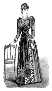 Victorian lady clip art, free black and white clipart, elegant vintage clothing image, 1900 ladies dress illustration, delineator magazine Victorian fashion