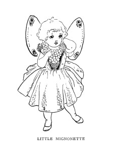 vintage storybook illustration, fairy clip art, black and white clipart, little mignonette character, antique childrens graphics