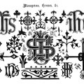 digital crosses monograms, old book page, vintage ornamental design clipart, graphic design symbols, black and white clip art