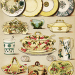 mrs beeton cookbook page, dinner and dessert china, vintage kitchen clipart, old fashioned dishes image, mrs beeton's color plate digital